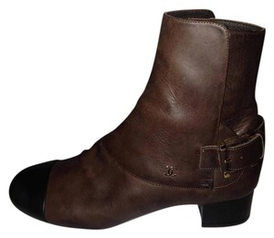 Chanel Buckled Cap Toe Brown/Black Boots