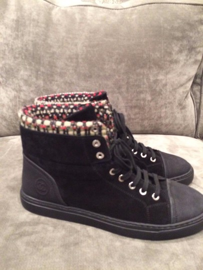 Chanel Cc Hi Top Suede Sneakers Kicks Black Athletic
