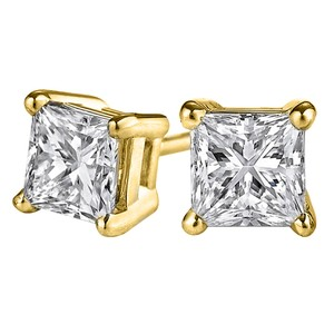 LoveBrightJewelry Glitter Daily with Princess Cut Diamond Stud Earrings