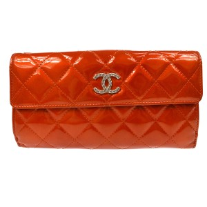 Chanel CHANEL Patent Quilted Brilliant long Large Flap Wallet red