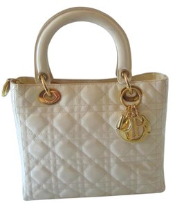 Dior Lady Leather Cannage Tote in BEIGE
