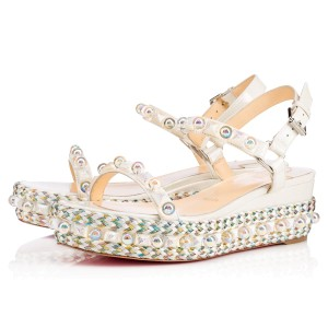 Christian Louboutin Louboutian Cataconico Jewel Cataconico Wedge Louboutin Wedge White Sandals