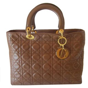 Dior Leather Cannage Leather Tote in BROWN