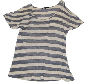 Tart Striped Draped Top Blue/White