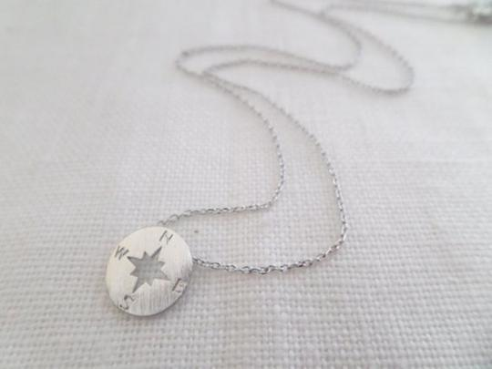 Other Tiny circle disk necklace, compass jewelry, compass necklace in Silver