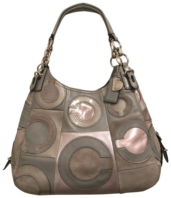 Item - Maggie Mia Inlaid C 15770 Blue Gray Rose Gold Silver Leather Shoulder Bag