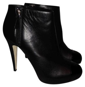 Chanel Patent Cap Toe Black Boots