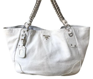 Prada Leather Cervo Lux Tote in White