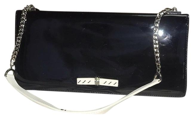 Item - Color Blocked Hanging Black & White Leather Clutch
