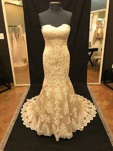 Martina Liana Ivory Lace with Cognac Tulle Over Pewter Gown Dolce Satin 500 Vintage Wedding Dress Size 8 (M)