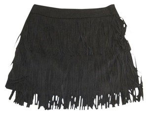 Skies Are Blue Suede Fringe Skirt