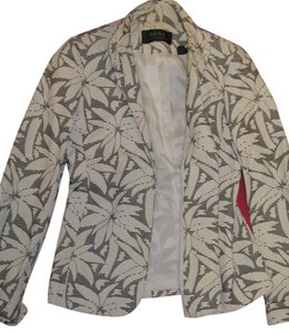 Dana Buchman Palm Tree Work Black and White Blazer