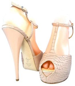 Giuseppe Zanotti Stiletto Hidden Sandal Snakeskin Light Pink Platforms