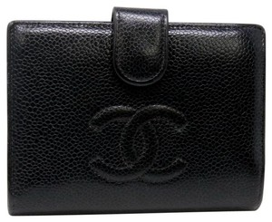 Chanel CC Black Lambskin Noir Camellia Leather Dual Bi-fold Wallet