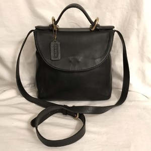 Coach Vintage Leather Cross Body Satchel in Black
