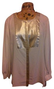 Style & Co Long Sleeve Top White & Gold