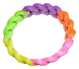 Other bright happy colorful neon multi color rubber braided twist bracelet