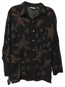 Chico's Longsleeve Design Button Down Shirt Black and Copper Embrodiered