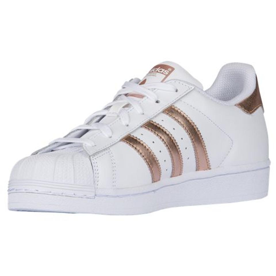 adidas superstar white copper rose gold shell toe