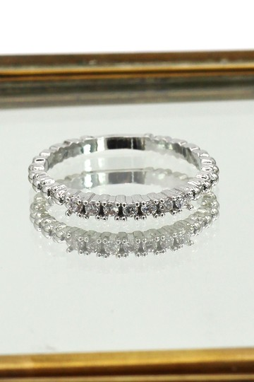 Ocean Fashion Concise silver crystal ring