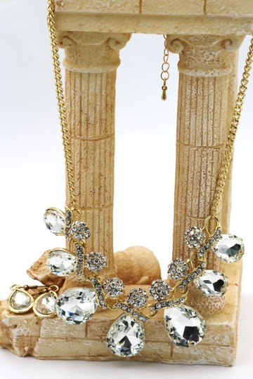 Ocean Fashion Noble cobblestone crystal necklace earrings gold sets
