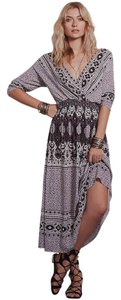 Ivory Combo Maxi Dress by Free People Reversible V-neck
