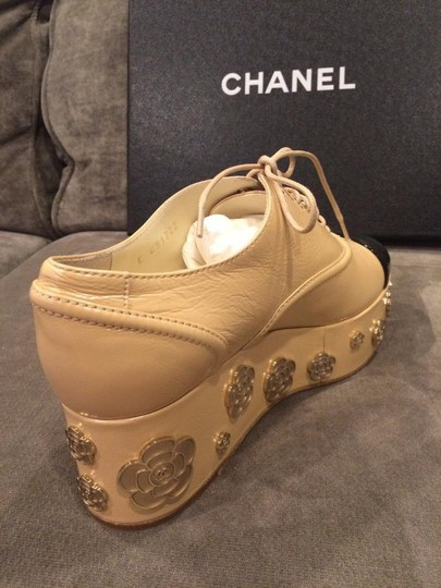 Chanel Bootie Camellia Oxford Beige Platforms