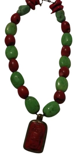Preload https://img-static.tradesy.com/item/20727875/green-red-silver-rustic-beaded-necklace-0-1-540-540.jpg