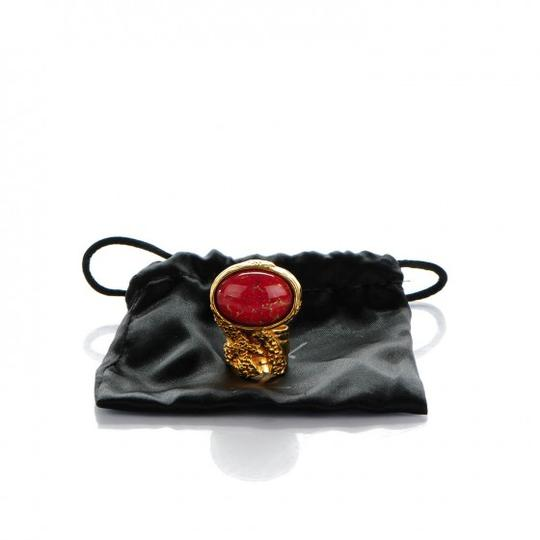 Saint Laurent YSL Glass Cabochon Arty Ovale in Gold Opium