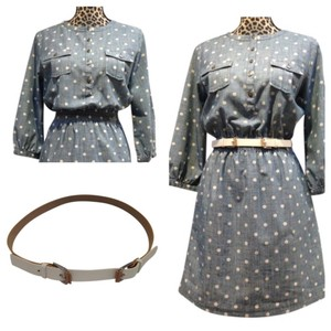 Brooks Brothers Antique Buttons Denim Polka-dot Business Casual Cole Haan Dress