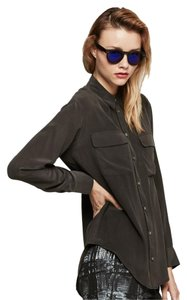 Equipment Button Down Signature Oversized Silk Longsleeve Top True Black