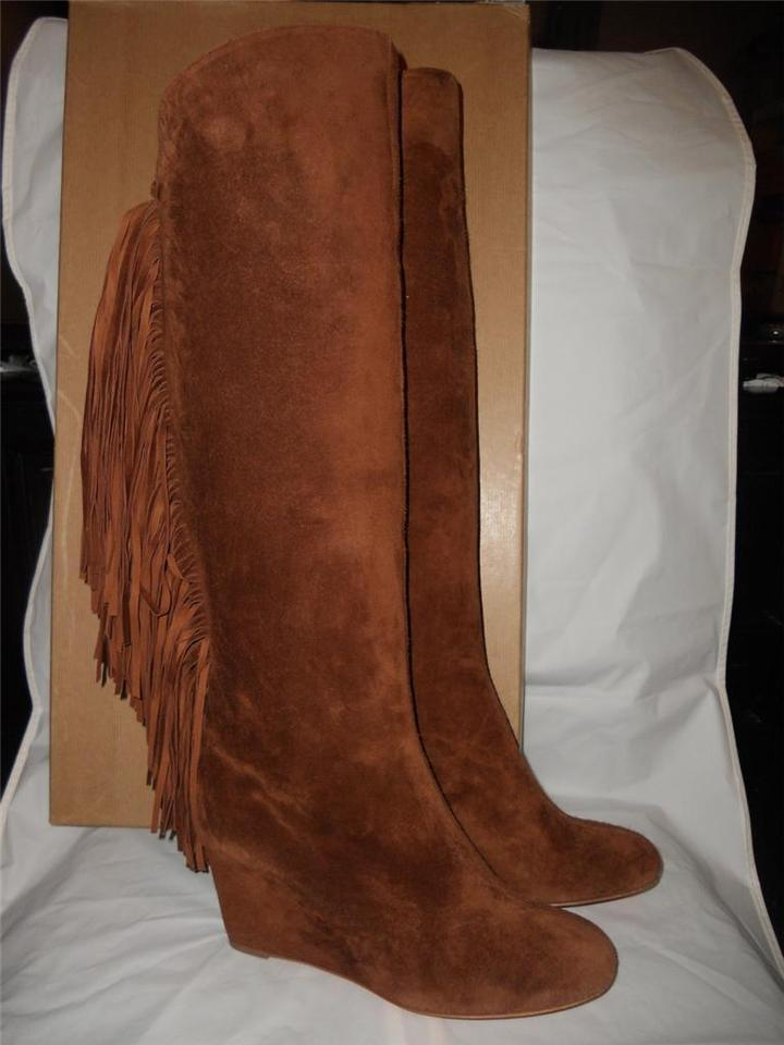 High Christian Fringe Suede Boots Heel Booties Brown Louboutin Wedge Pouliche Knee InBrwB8q7x