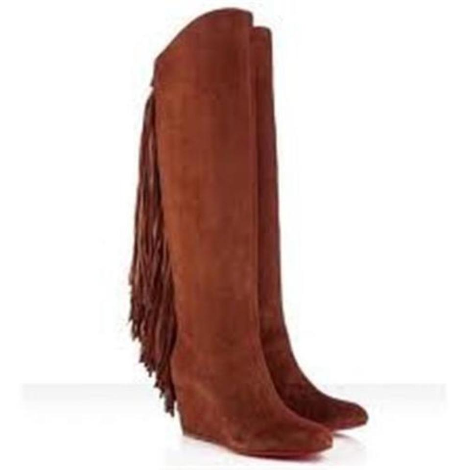Pouliche Suede Booties Heel Christian Wedge Knee Brown High Louboutin Fringe Boots wqFt6ES