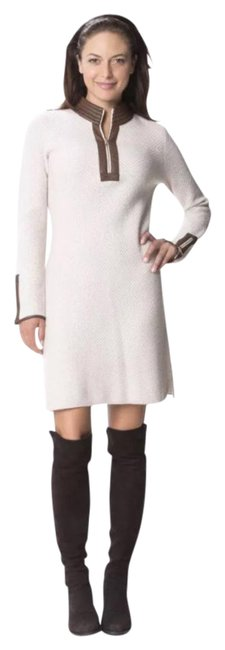 Preload https://img-static.tradesy.com/item/20728081/sail-to-sable-cream-with-brown-leather-trim-textured-foxfield-mid-length-short-casual-dress-size-12-0-1-650-650.jpg