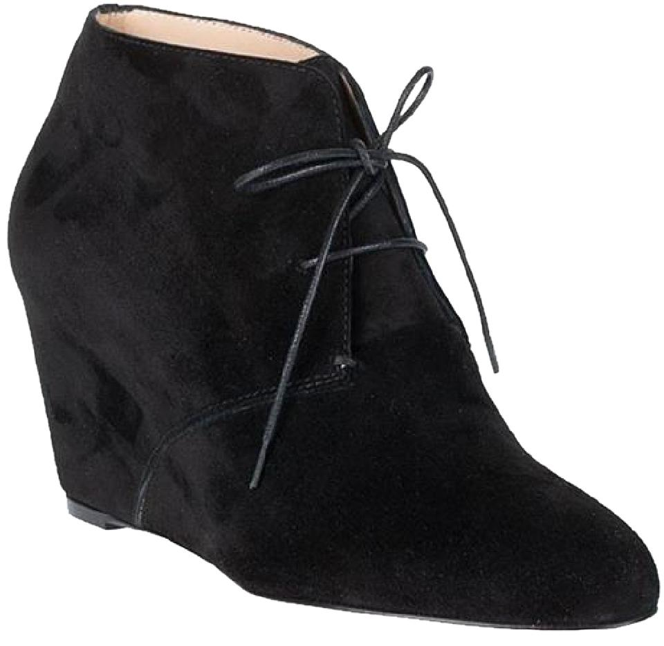 78ffc7beee6 Christian Louboutin Black Compacta Suede Lace Up Wedge Ankle Boots/Booties  Size EU 34.5 (Approx. US 4.5) Regular (M, B) 48% off retail