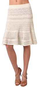 Catherine Malandrino C Malandrino Pointelle Knit Skirt Cream