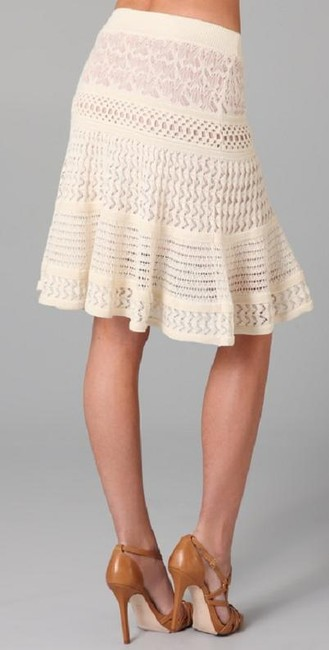 Catherine Malandrino C Pointelle Knit Skirt Cream