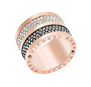 Michael Kors NWT Michael Kors Rose Gold Gunmetal Diamond Barrel Ring 8