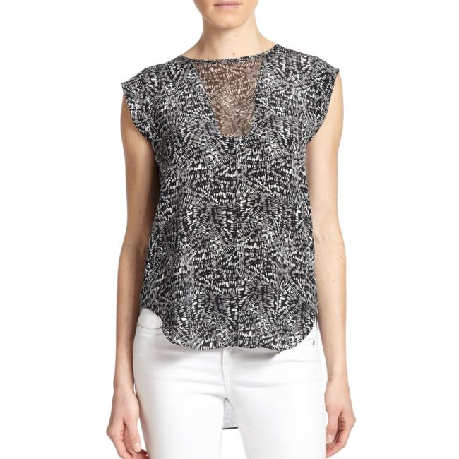 Rebecca Taylor Sleveless Sheer Pattern Silk Top Black/White