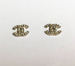 Chanel Mini CC Classic Pierced Earrings Gold with Swarovski Crystals