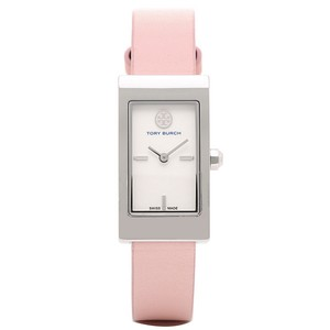 Tory Burch Women's Buddy Swiss Made Silver Tone Pink Leather Watch TRB2004
