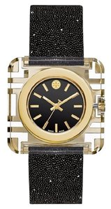 Tory Burch Women's Izzie Gold Crystal Black Italian Leather Swiss Watch TRB3009