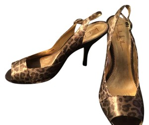 Nicole Miller Heels Leopard Print Gold brown Sandals