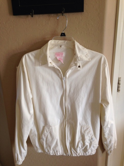 Carriage Court Sport Hand Painted Zip Medium Large Washable White w/Multi Color Painting Jacket