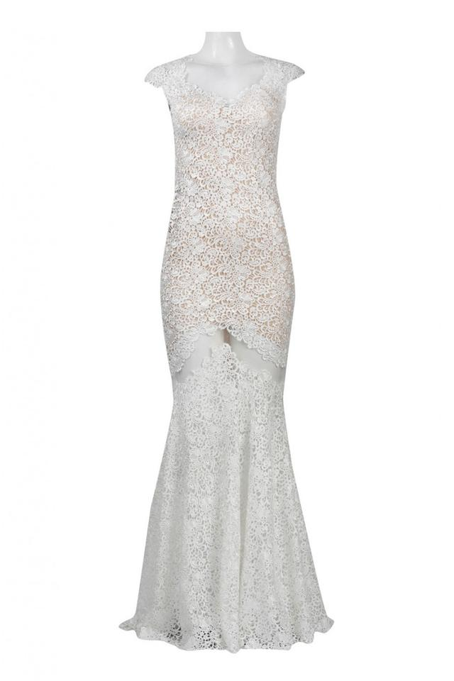 Mignon Ivory Vm1509 Cap Sleeve Lace Illusion Evening Gown Long ...