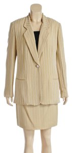 Pamela Dennis Pamela Dennis Tan Beaded Jacket and Skirt Suit (Size 4)