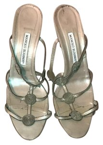 Manolo Blahnik Pewter Sandals