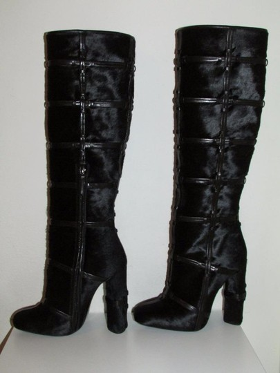 Tom Ford Black Calf Hair Patchwork Boots