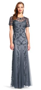 Adrianna Papell Beaded Mesh Illusion Gown Dress