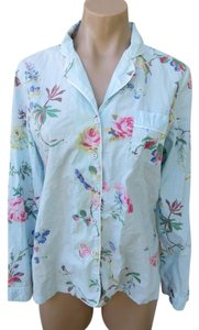 Cath Kidston Pajama Loungewear Size Small Chintz Cotton Floral Button Down Shirt Blue